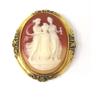 New Cameo Brooch Pin Goldtone Frame Victorian